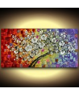 Abstract Tree of Life White Cherry Blossom multicolored Canvas PRINT Cur... - $345.00