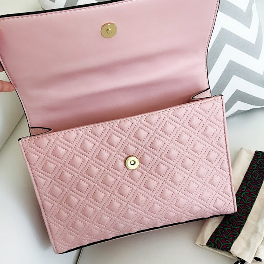 Tory Burch Fleming Convertible Chain Large Shoulder Bag - Shell Pink