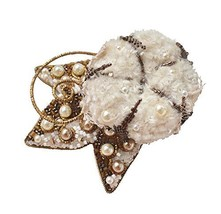Maria Kovaleva Jewelry Cotton Flower Bead Embroidered Brooch White - $145.23