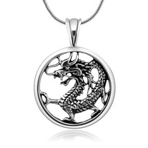 925 Oxidized Sterling Silver Detailed Dragon Luck Wisdom and Longevity P... - $86.43
