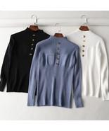 gkfnmt Half Turtleneck 2019 Autumn Winter Sweater Button Warm Knitwear P... - $14.30