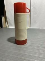 VTG Aladdin HY-LO Thermos Bottle Wide Mouth Quart WM1060P Red Beige 44 - $18.23