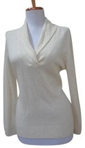 CHARTER CLUB PETITE Ivory 100% Cashmere Collared V-Neck Sweater - Size P... - $59.39