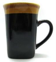 Royal Norfolk Square Bottom Coffee Mug Dark Brown & Tan Heavy tall Stoneware - $14.99