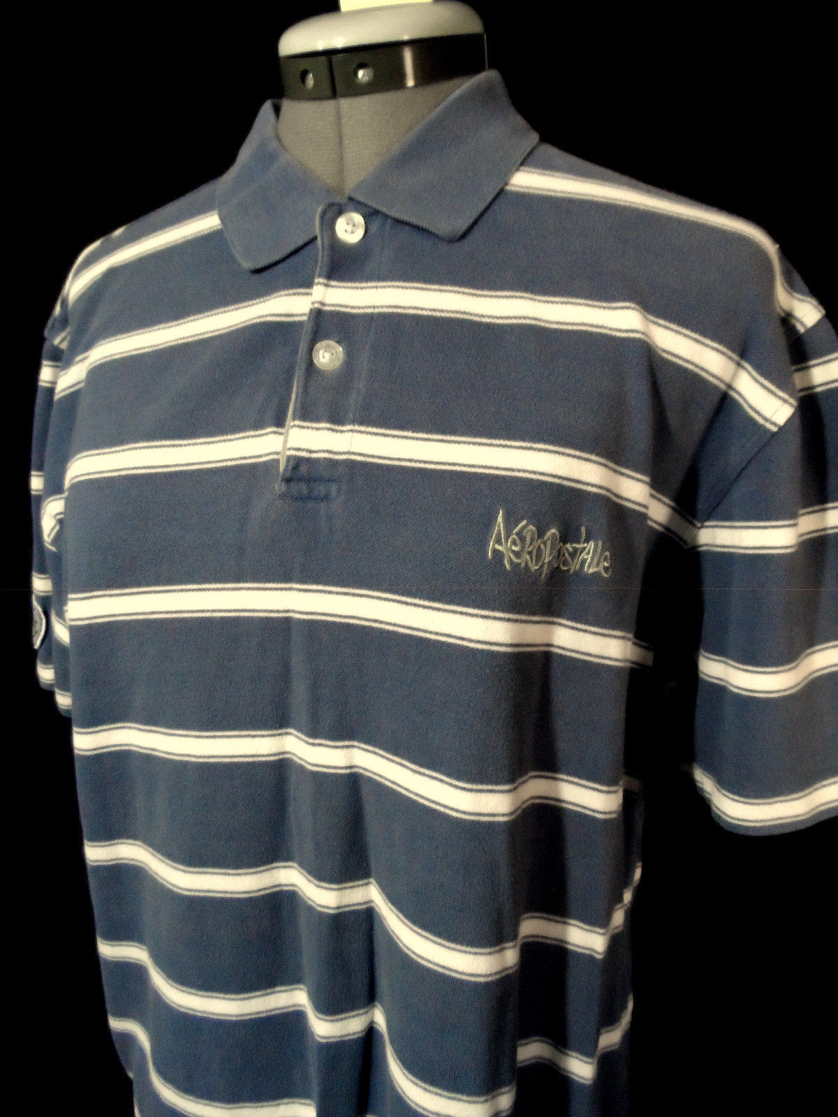 53f31a41bf6 AEROPOSTALE polo T-Shirt M Blue White stripe Short sleeve Textured rugby  sporty