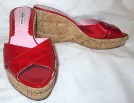 Via Spiga Red Patent Leather Cork Wedge Heel Slide On Shoes Size 7 M Exc... - $25.74