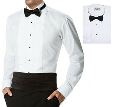 Boltini Italy Men's Wingtip Collar Premium Tuxedo Dress Shirt with Bow Tie