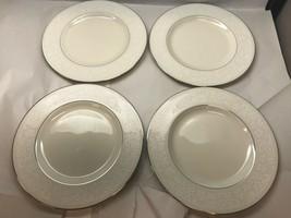 VINTAGE Set of FOUR PICKARD Brocade White DINNER PLATES - $25.73