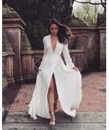 Long V neck full sleeve white prom dress - $169.00