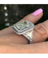 7 Carat Radiant Cut Trillion Side Diamond Engagement Halo Ring 18k White... - $26,729.01