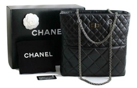 4501e4c2fa8bf1 CHANEL Black Aged Calfskin Leather Reissue Business Tote, RH AUTHENTICATED!  - $2,234.88