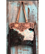 American Darling Brown & White Hair on Hide & Turquoise Acid Wash Bag - $139.99