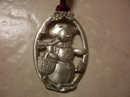 Longaberger Pewter Snowman on Ski 1999 Tree  Ornament  signed EUC - $6.43