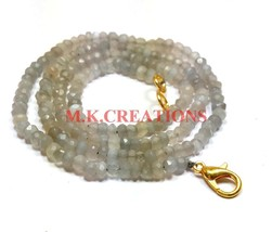 "Natural Gray Moonstone 3-4mm Rondelle Faceted Beads 20"" Long Beaded Neck... - $19.16"