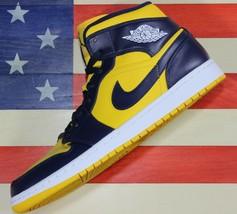 Nike Air Jordan 1 Mid University Of Michigan Retro Maize Shoe i[554724-7... - $202.22