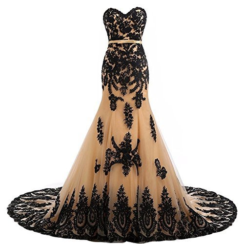 Long Mermaid Black Lace Vintage Gothic Prom Dress Wedding Evening Gown Champagne