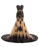 Long Mermaid Black Lace Vintage Gothic Prom Dress Wedding Evening Gown C... - $185.12