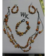 Wood Beaded Jewelry Set Necklace Natural Fall Women - $18.90