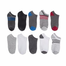 Walmart Brand Boys No Show Socks Thin Stripes 10 Pair Large Shoe Size 4-10 - $10.88