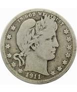 1911 D ¼ Dollar Barber Quarter USA Coin Silver (MO1579-) - £20.83 GBP