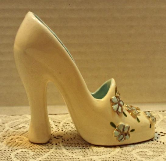 Vintage Decorative High Heeled Shoe // 1950s Flowered Shoe // Fancy Ceramic Shoe
