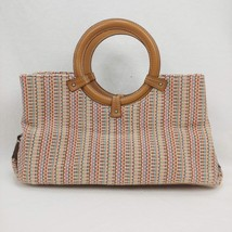 FOSSIL Multicolor Straw Handbag! Wood Handles!  Multi Colors!  GREAT QUA... - $28.60
