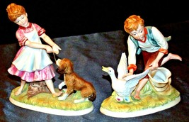 Boy chasing Goose and Girl with Her Dog Figurines Andrea by Sadek 8974 AA20-2169