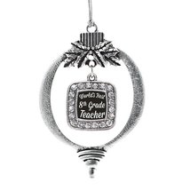 Inspired Silver World's Best 8th Grade Teacher Classic Holiday Decoration Christ - $14.69