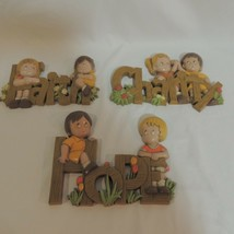 Homco Vintage Plastic Wall Decor Children Hope Faith Charity Plaques - $27.71