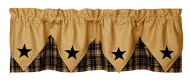 primitive country farmhouse cabin Heritage Star Black & Tan pointed VALANCE - $36.95