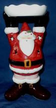 Pillar Tea Light Santa Claus Candle Holder 10 in tall Stars Christmas - $18.81