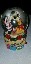 "Disney Mickey & Pluto Christmas Glitter Music Snowglobe Plays ""Deck The ... - $34.64"