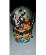 "Disney Mickey & Pluto Christmas Glitter Music Snowglobe Plays ""Deck The ... - $34.64"