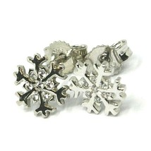 SOLID 18K WHITE GOLD EARRINGS FLAT SNOWFLAKE, SHINY, SMOOTH, 9 MM CUBIC ZIRCONIA image 2