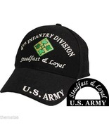 ARMY 4TH INFANTRY DIVISION STEADFAST LOYAL EMBROIDERED BLACK MILITARY  H... - $31.58