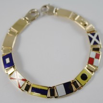 MASSIVE SOLID 18K YELLOW GOLD BRACELET WITH GLAZED NAUTICAL FLAGS, MADE IN ITALY image 1