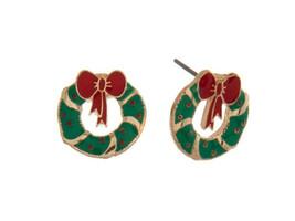 Wreaths Goldtone Christmas Stud Earring Set - $6.95