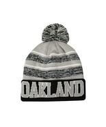 Oakland Men's Blended Stripe Winter Knit Pom Beanie Hat (Black/Gray) - $13.75