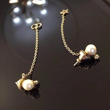 "Authentic Christian Dior ""LA PETITE TRIBALE"" EARRINGS Pearl Dangle Star image 11"