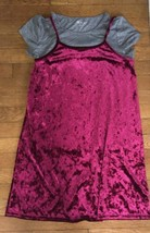 * NWT childrens place magenta pink gray layered velvet short sleeve dres... - $11.83