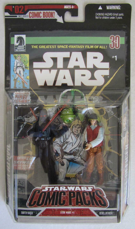 Star Wars Comic Packs DARTH VADER & REBEL OFFICER Figures & Comic Book