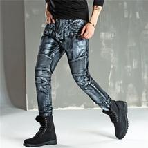 Men Fashion Paint Golden Coating Stretch Bike Jeans image 7