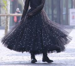Black Party Skirt Outift  Long Tulle Skirt Plus Size Black Tutu Skirt Pearl deco image 1