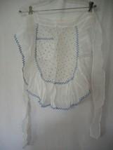 Vintage sheer blue white Half Apron  bows - $22.76