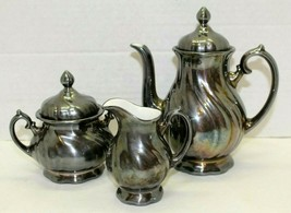 Vintage WMF Silver Plated On Porcelain 5 Piece Coffee Tea Set Creamer Su... - $118.80