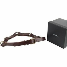 Authentic Dolce & Gabbana Brown Leather Belt with Rings Size 42-90 - $108.90