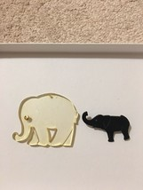 Lot Large Clear Elephant Pendant And Black Pin - $7.85