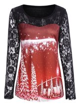 Ugly Red and Black Christmas Lace Shirt - $8.22+