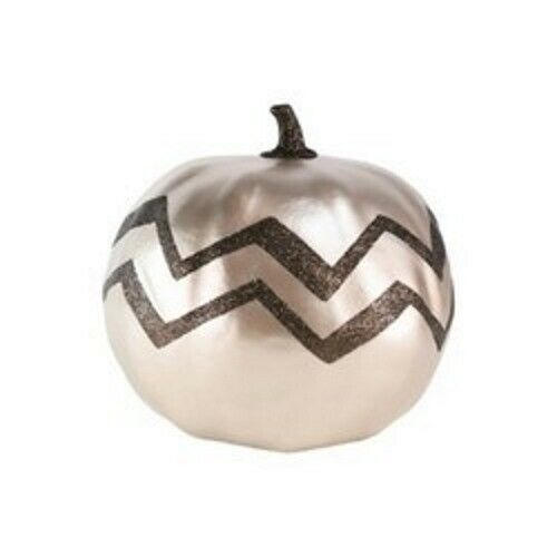 Primary image for Large Harvest Pumpkin Chevron Metallic Gold (1)