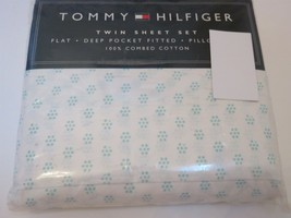 Tommy Hilfiger MELROSE Aqua White Floral Dot 3P Twin Sheet Set - $38.75